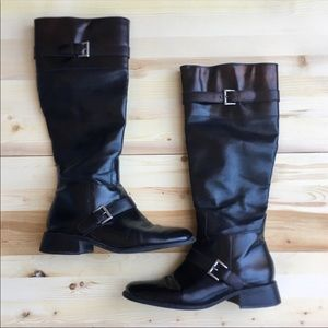Square Toe Leather Knee High Boots
